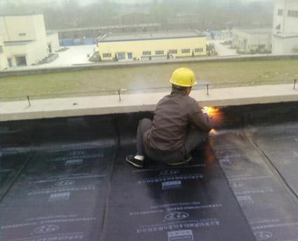 屋顶防水堵漏工作现场