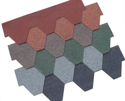 厂家直供沥青瓦多边形彩色油毡瓦移动板房专用瓦片